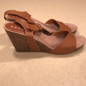 Esprit brown tan cork wedge strap sandal 9.5